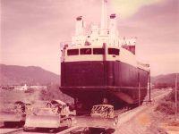 MV Straitsman being dragged to Slipway 1971