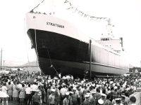 MV Straitsman on slipway 1971